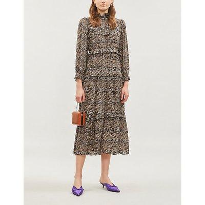 Ines leopard-print crepe midi dress