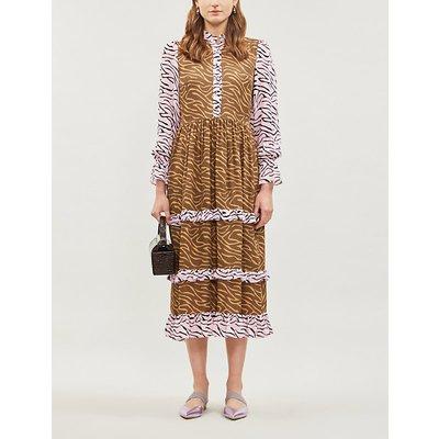Olivia Rubin Florence Panelled Printed Silk-Crepe Midi Dress