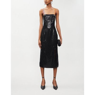 Olivia Rubin Black Greta Bodycon Sequinned Midi Dress