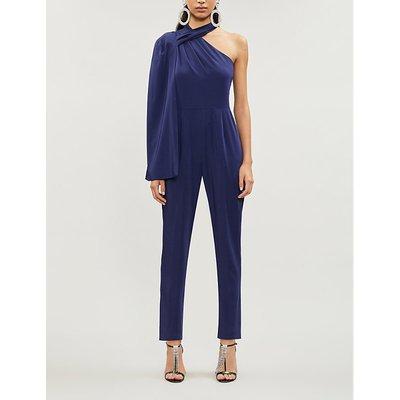 One-shoulder cape-sleeved stretch-crepe jumpsuit