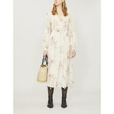 Leah ruched floral-print silk-chiffon midi dress