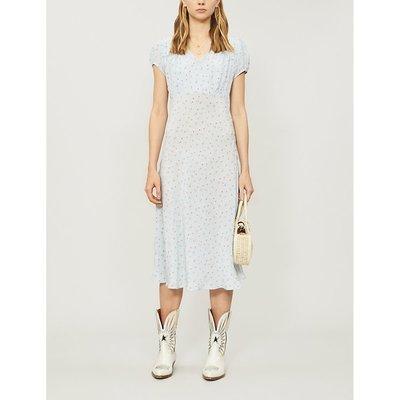 Meg ruched floral-print silk-crepe midi dress