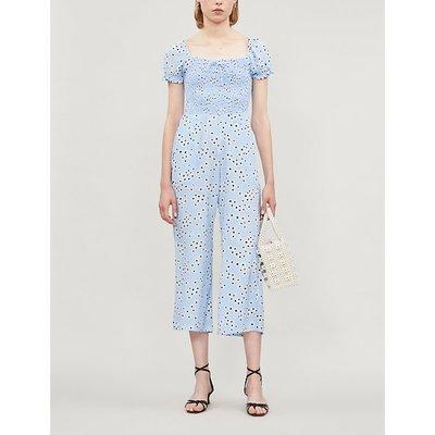 Flaire floral-print rayon jumpsuit