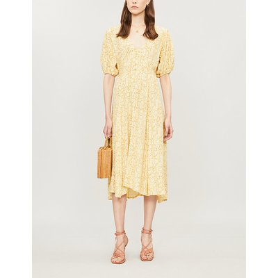 Faithfull The Brand Delia Snake-Print Rayon Midi Dress