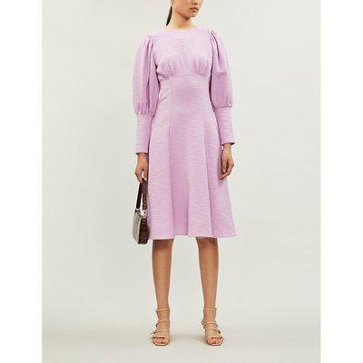 Violet puff-sleeve cotton-blend midi dress