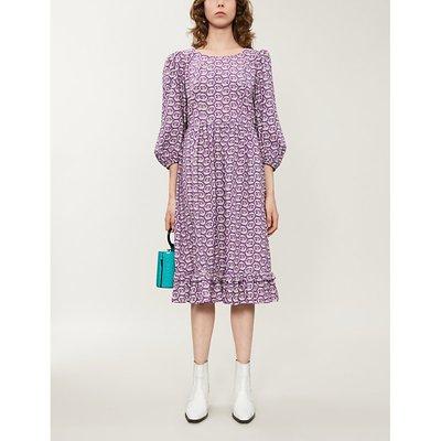 Peasant leaf-print cotton midi dress