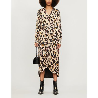 Leopard-print wrap satin dress