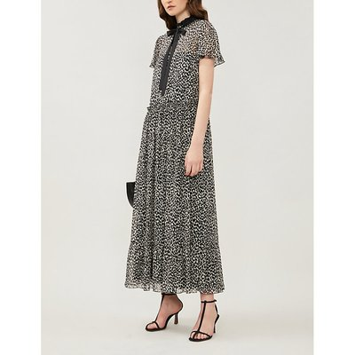 Leopard-print flared-skirt silk-crepe midi dress