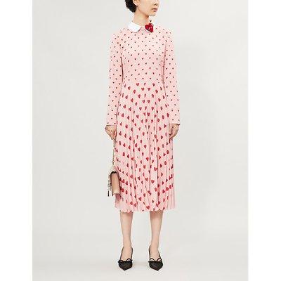 Heart-print pleated crepe midi dress