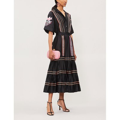 Cher embroidered tiered cotton midi dress