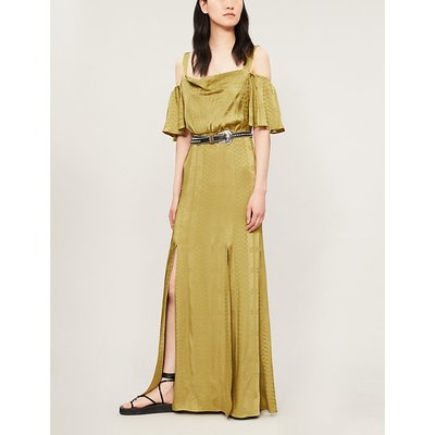 Erika cold-shoulder satin-jacquard maxi dress