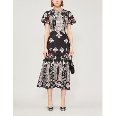 Temperley London Ladies Black Floral-Print Flux Midi Dress