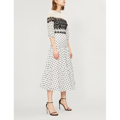 Temperley London Ladies White Polka-Dot Print Lace-Panelled Cotton-Blend Midi Dress