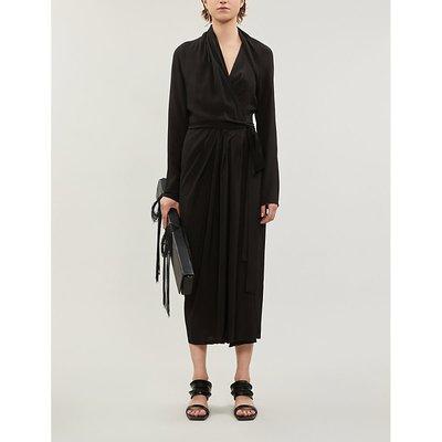 Draped woven midi dress
