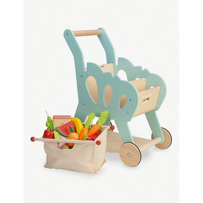 Wooden shopping trolley toy