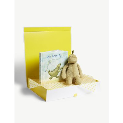 Bashful Dino soft toy and book hamper