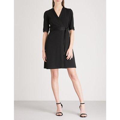 V-neck crepe wrap dress