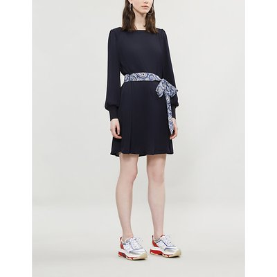Paisley-print belted crepe dress