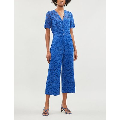 Judith wide cropped stretch-lace jumpsuit