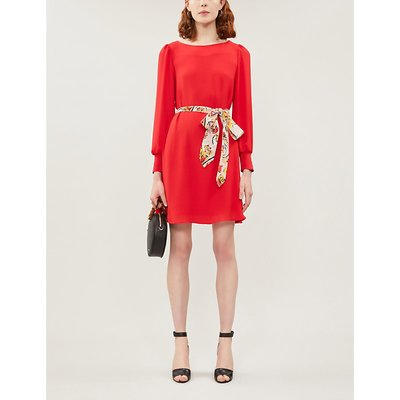 Ravageuse contrast-belt crepe dress