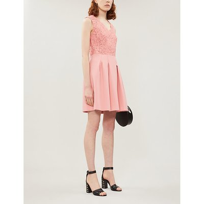 Ragazza contrast-skirt lace and crepe dress