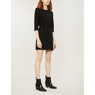 Paisley embroidered crepe dress