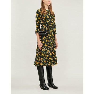Rismah floral belted silk-crepe dress