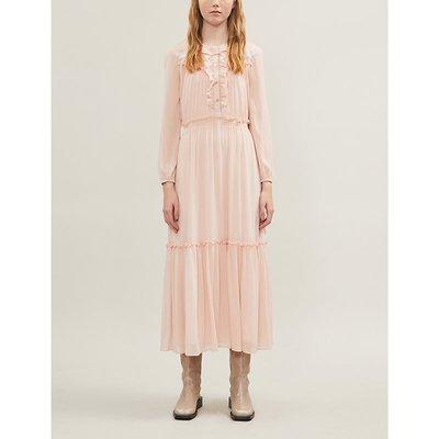 Contrast neck-tie pleated crepe dress