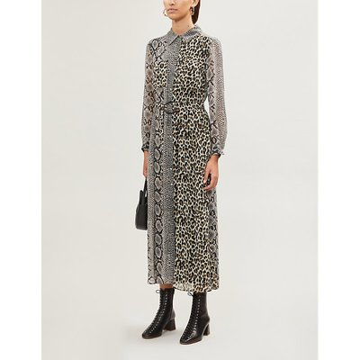 Rigole mixed-print crepe midi dress