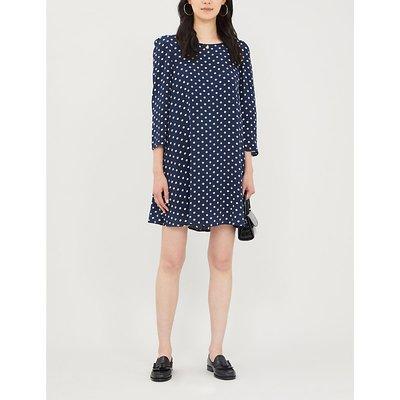 Polka dot-print long-sleeved crepe dress