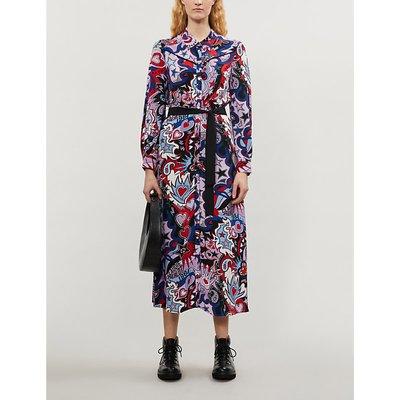 Rosalinda graphic-print crepe midi dress