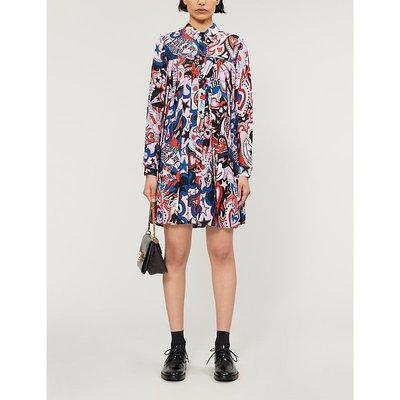 Graphic-print crepe dress