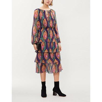 Tiered printed silk midi dress