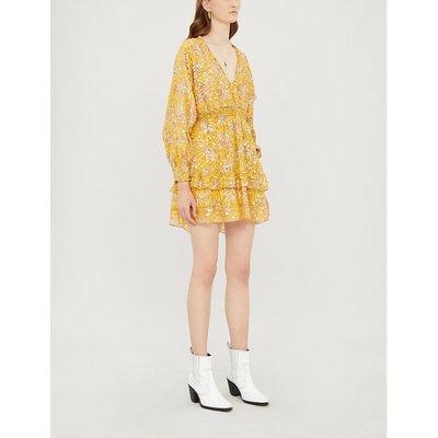 Floral-print ruffle-trimmed silk-blend crepe dress