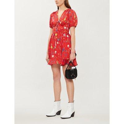 Floral-print lace-up crepe de chine dress