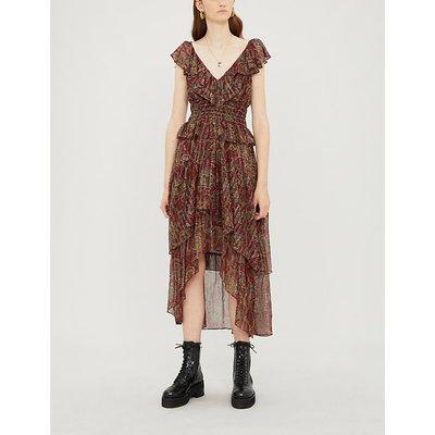 Ruffle-trimmed paisley silk-blend crepe dress
