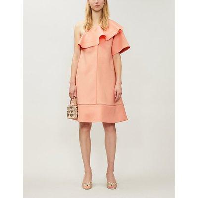 Vestiaire Pink Chloe Asymmetric-Neckline Woven Midi Dress