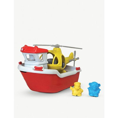 Recycled plastic rescue boat and helicopter toy set