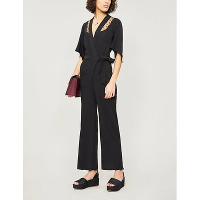 Embroidered panel crepe jumpsuit