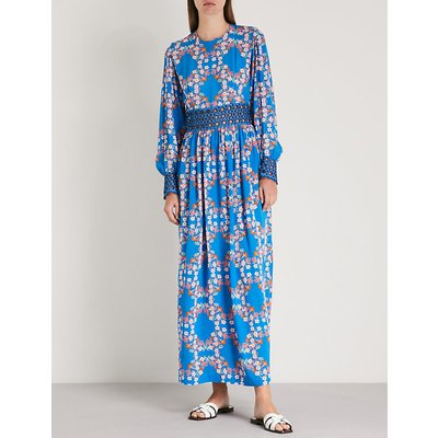 Floral-print crepe and cotton midi dress