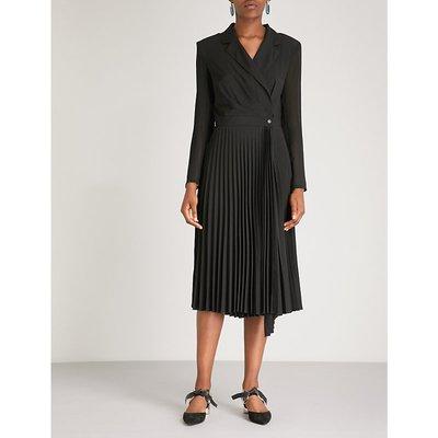Sandro Ladies Black Noir Blazer-Style Pleated Crepe Dress