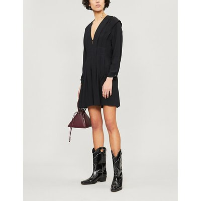 Sandro Ladies Black V-Neck Pleated Crepe Dress