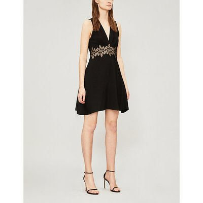 Sandro Ladies Black Elena Lace-Trim Crepe Dress