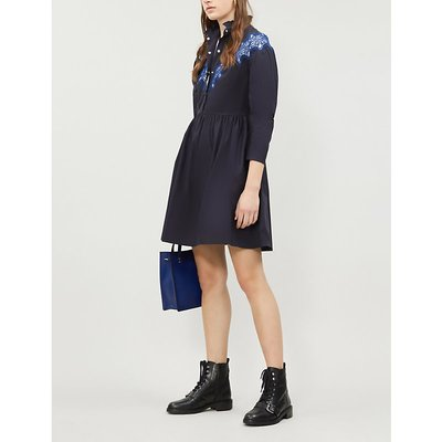 Embroidered-lace panel flared cotton-crepe dress