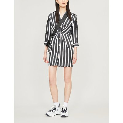 Striped button-trim crepe dress