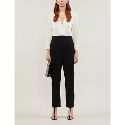 Two-part satin and crepe jumpsuit