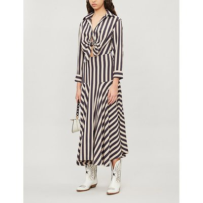 Knotted-front striped crepe dress