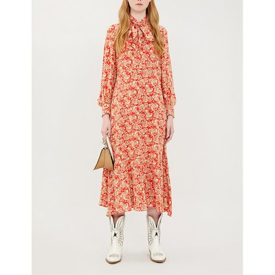 Paisley-print neck-tie silk-crepe de Chine dress