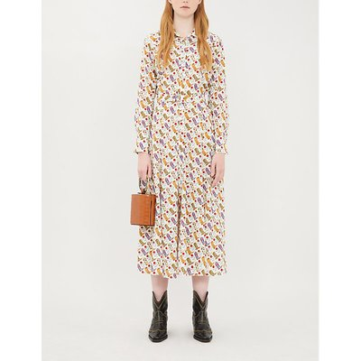 Graphic-print belted crepe dress