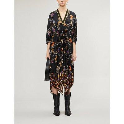 Sandro Chain-printed satin midi dress